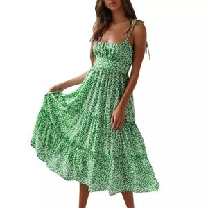 Green Floral Ditsy Midi Dress
